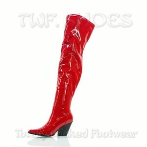 Red Stretch Patent Thigh High Kelsey Cowgirl Boots